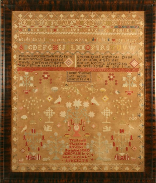 Cross-stitch sampler by Anne Thomas, Wales, 1864