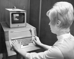Woman at computer, Madison, 1970-1980. UW-Madison Archives.