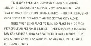 Mayor Maier's statement on passing of national open housing bill, April 12, 1968.