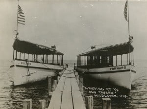 Two boats docked at Club Tavern, Middleton, Wisconsin