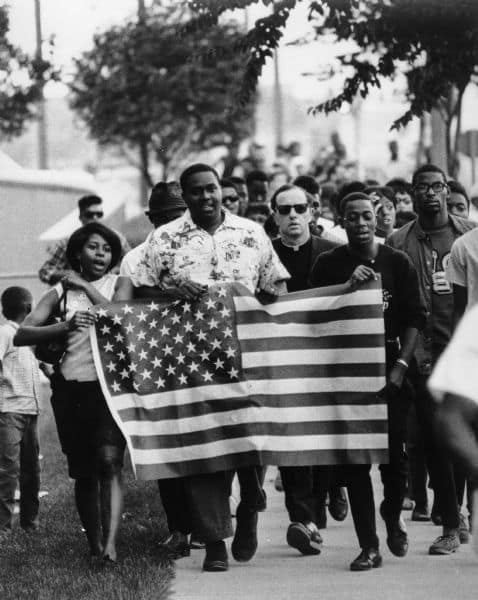 Fair housing march, Wauwatosa, Wisconsin, 1966 (James Groppi, center).