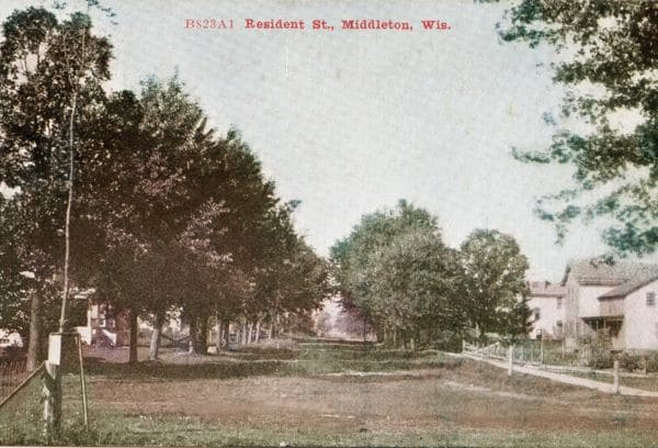 Postcard of a residential street in Middleton, Wisconsin, 1908.