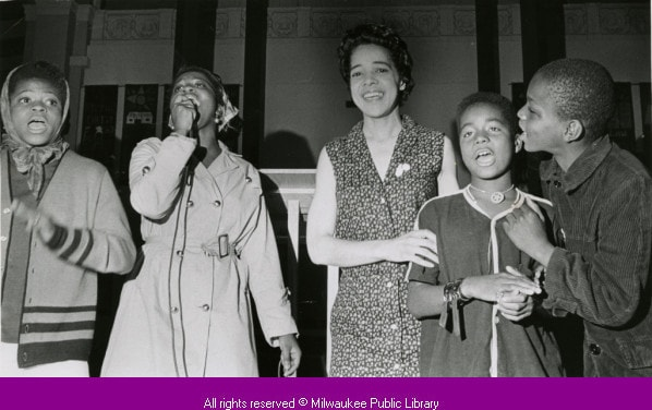 Alderwoman Vel Phillips visits St. Boniface Church, Milwaukee, 1967.