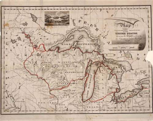 Map of the Northwestern Territories of the United States: showing the track pursued by the expedition under Governor Cass in 1820.