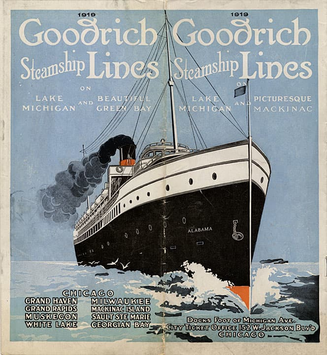 Cover of Goodrich Steamship Lines schedule for 1919. Great Lakes Marine Collection of the Milwaukee Public Library / Wisconsin Marine Historical Society.