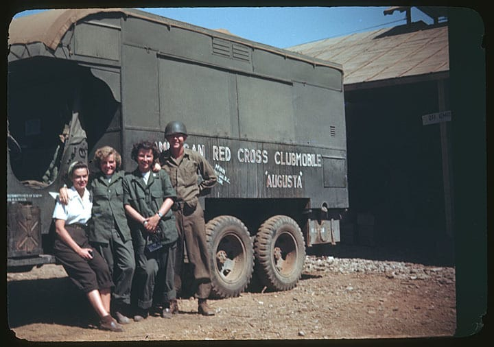 Pat and two other women with a Red Cross Clubmobile. Mount Horeb Public Library by way of University of Wisconsin Digital Collections.