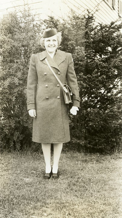 Pat Hitchcock in her winter Red Cross uniform, 1945.