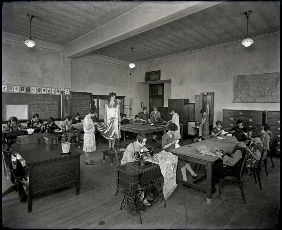 Sewing class at Milwaukee Vocational School, 1927.