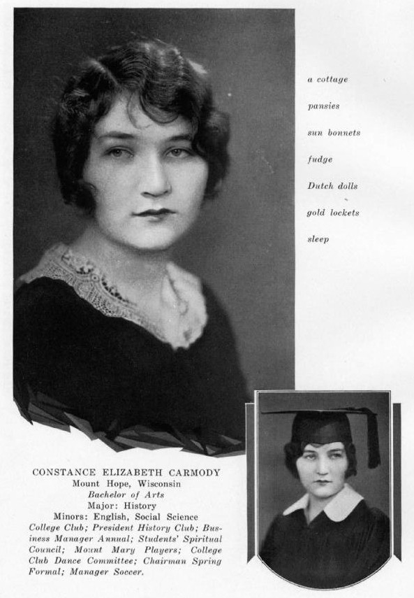 Portrait of Constance Carmody in the 1930 Mount Mary College yearbook.