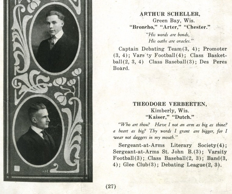 Two of the 24 graduating seniors featured in the 1917 St. Norbert College yearbook.