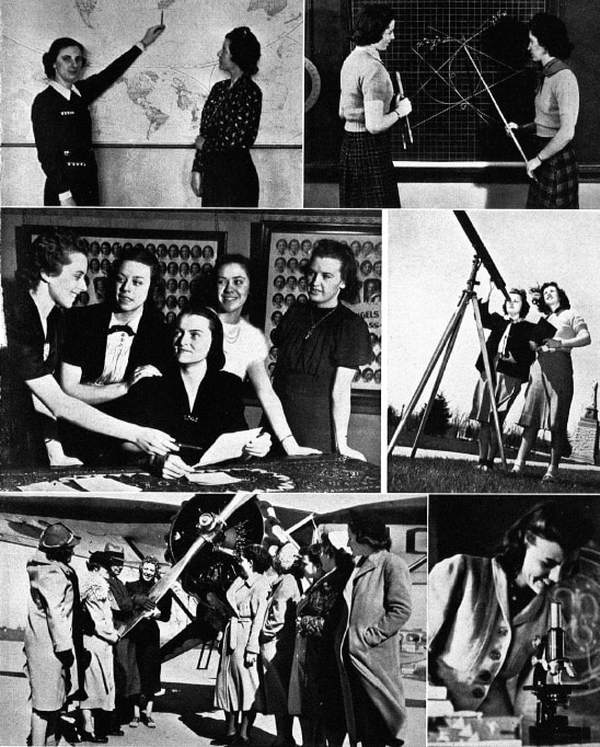 A photo collage from the 1939 college yearbook shows students in history, math, and science classes.