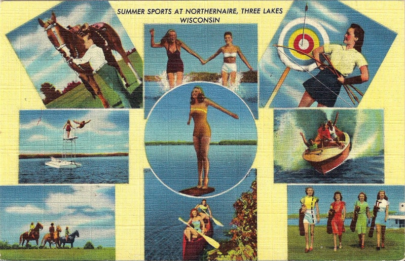 Postcard: Summer sports at Northernaire, Three Lakes, Wisconsin.