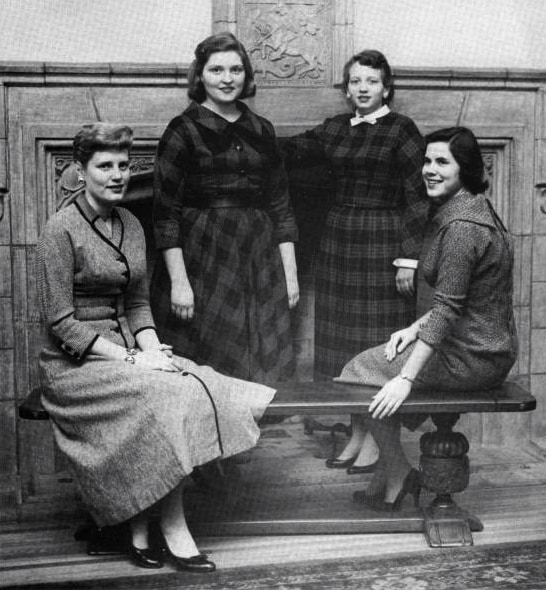 Senior class officers, 1958. Mount Mary College Archives.