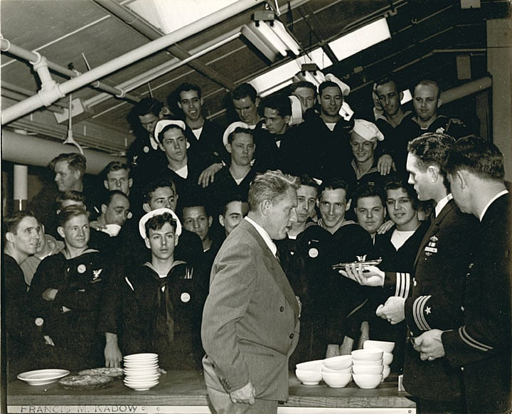 Spencer Tracy with commander and crew of the submarine Icefish, 1944.