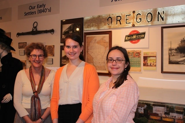 Visiting the Oregon Area Historical Society: Material Culture Program director and Art History faculty member Ann Smart Martin, Summer Service Learner Laura Sevelis, and Recollection Wisconsin Program Manager Emily Pfotenhauer.