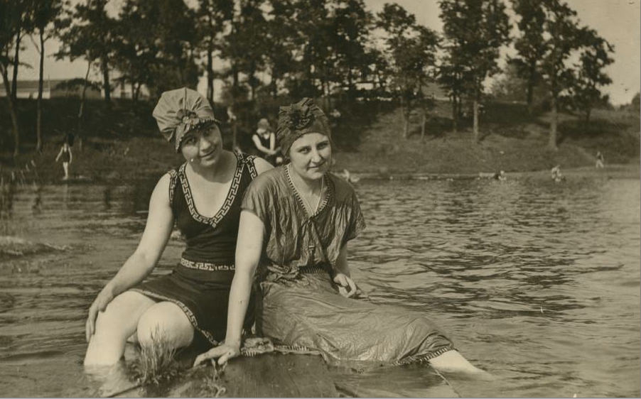 Evelyn Welsh and Mahala Ray swimming at Half Moon Lake, Eau Claire, 1916. Chippewa Valley Museum.