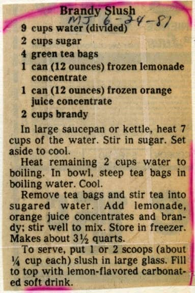 Recipe for brandy slush, Milwaukee Journal, 1981.