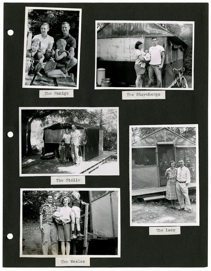This page from the Camp Gallistella photograph album features portraits of families at their tents. UW-Madison Archives.