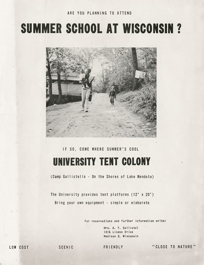Undated promotional flyer for the University Tent Colony. UW-Madison Archives.