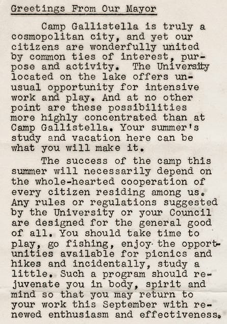 A letter from camp mayor Ralph E. Dunbar in the 1932 edition of the tent colony newsletter, Gallistella Breezes. UW-Madison Archives.