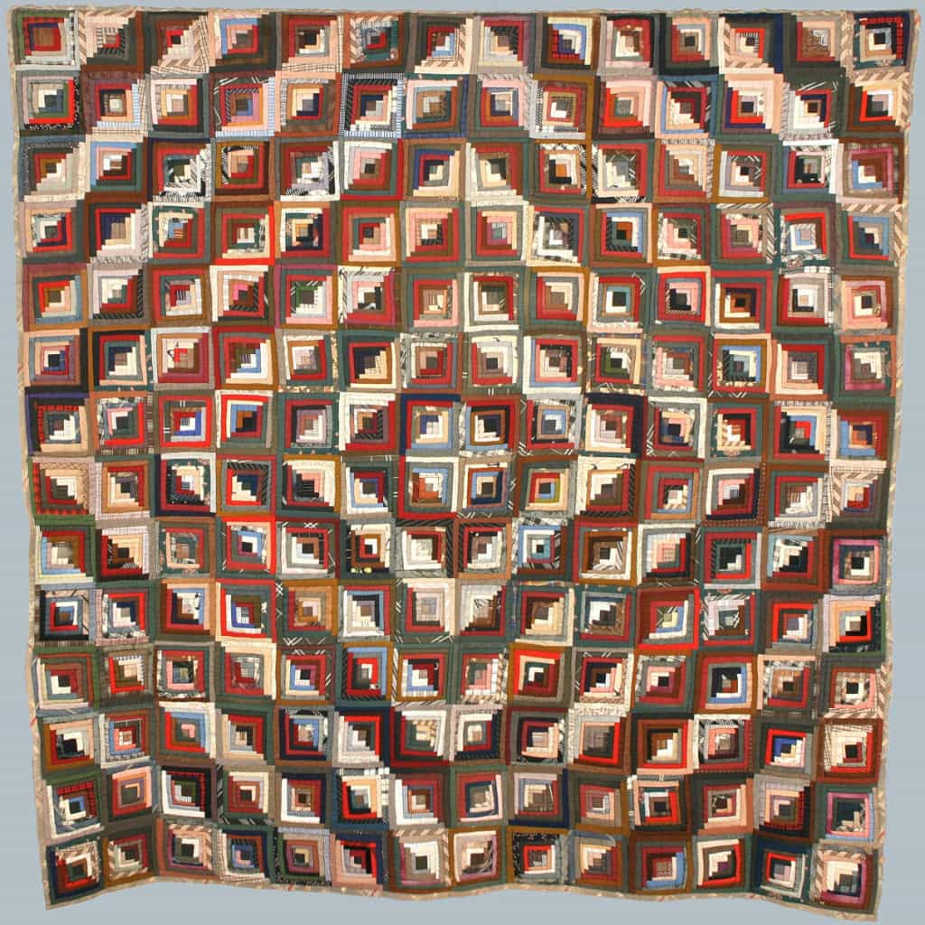 "Log cabin quilt in ""barn raising"" pattern, Lydia Warner Atherton, Bridgeport, Crawford County, Wisconsin, ca. 1860-1900. Rock County Historical Society."
