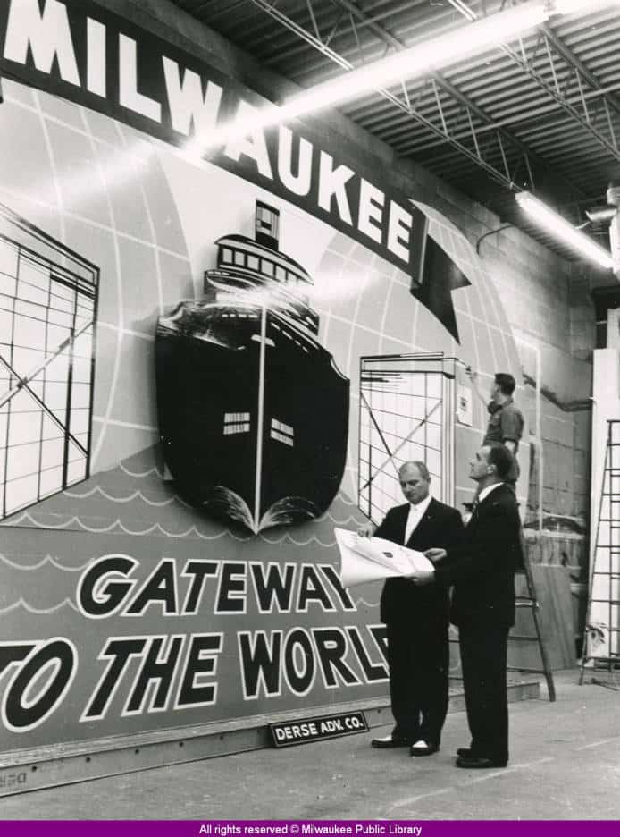 """Milwaukee - Gateway to the World"" sign, 1959"