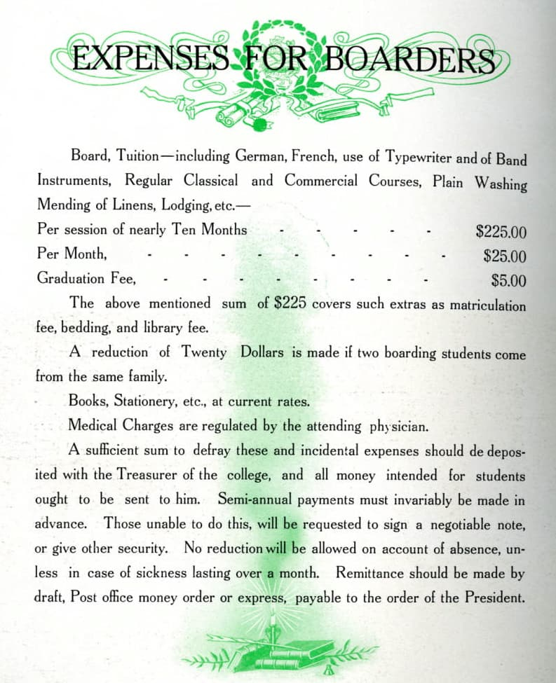 Tuition and boarding costs for students who lived on campus were $225 in 1910, and families who sent more than one son to the school received a $20 discount. Mulva Library, St. Norbert College.