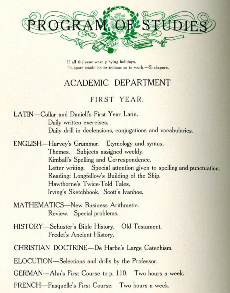 The 1907-1908 course catalog shows a demanding freshmen curriculum, with intensive work in Latin, English and math as well as catechism and public speaking. Mulva Library, St. Norbert College.