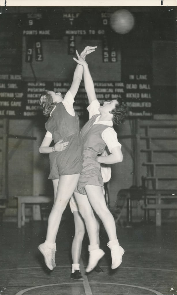 A tipoff between two women's intramural players, ca. 1935. Ripon College Archives.