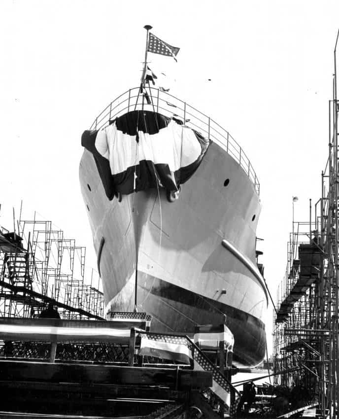 Christening of FS-344 (later known as USS Pueblo) in the Kewaunee harbor, 1944. Kewaunee Public Library.