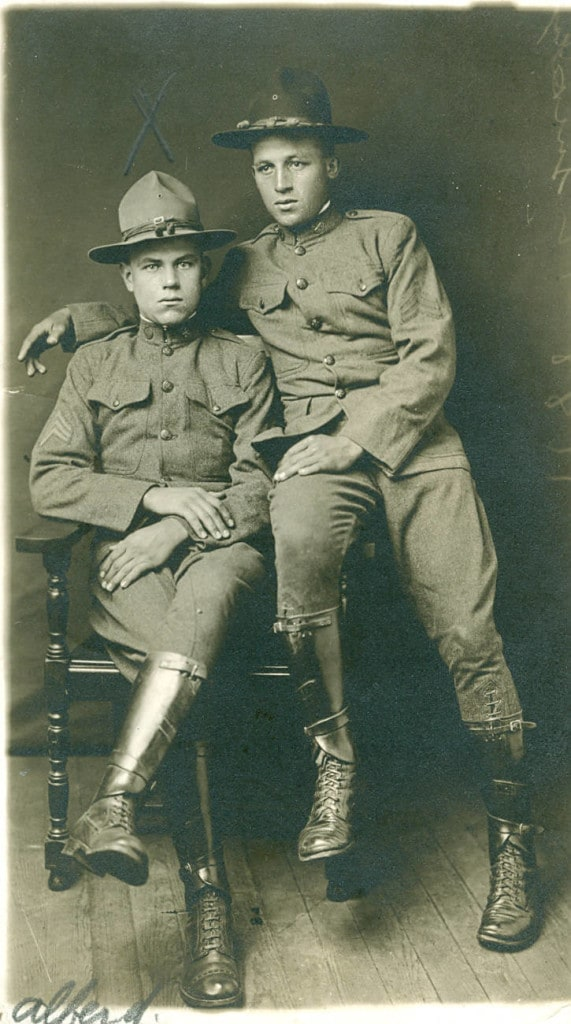 Portrait of World War I soldier Alfred Dave (left) and unidentified friend, Green Bay, 1917-1918. Brown County War History Committee collection, Neville Public Museum of Brown County.