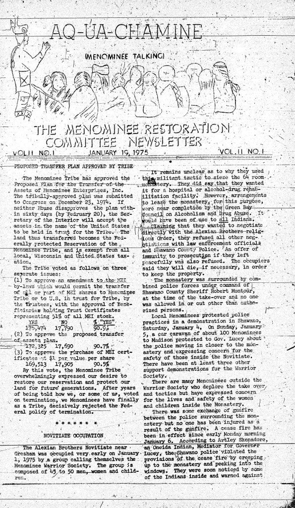 Aq-ua-chamine (Menominee Talking), Menominee Restoration Committee Newsletter, January 19, 1975. College of Menominee Nation S. Verna Fowler Academic Library/Menominee Public Library.