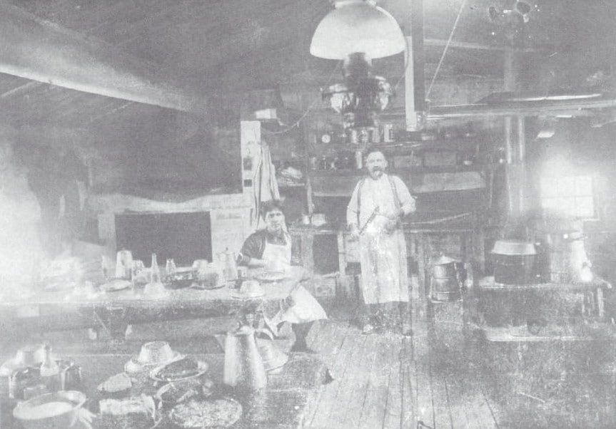 Interior of a logging camp cook shanty in Sawyer County. Stone Lake Area Historical Society.