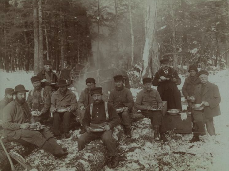 Loggers eating lunch in the woods ca. 1890. Chippewa Valley Museum.