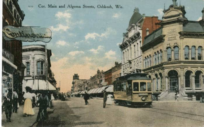 Corner of Main and Algoma Streets, Oshkosh, Wisconsin, 1910. Oshkosh Public Library.