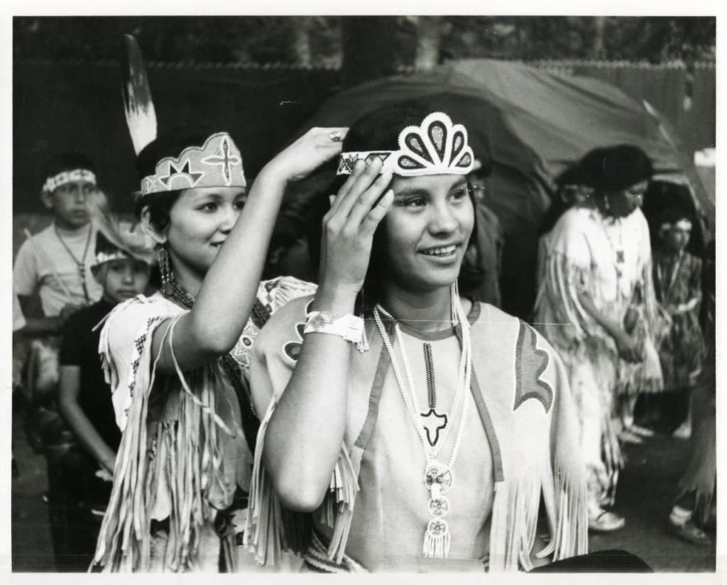 Karen Washinawatok being crowned Miss Menominee, Keshena. The Phillip and Faith Sealy Collection on the Menominee Arts, College of Menominee Nation S. Verna Fowler Academic Library/Menominee Public Library.