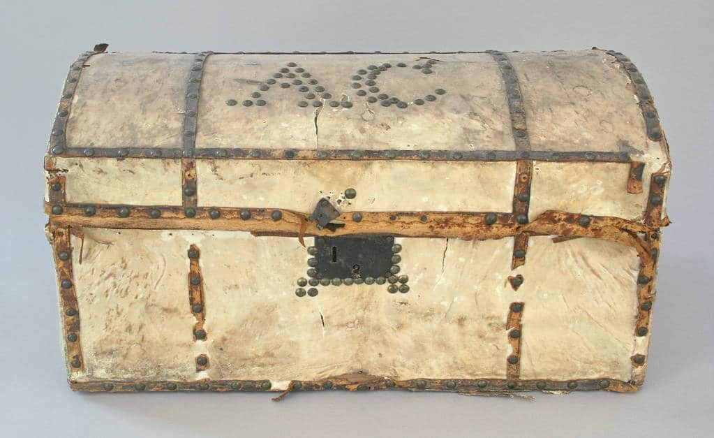 Trunk brought to Wrightstown, Wisconsin from New York by Anna Holmes Cleveland, 1836. Wrightstown Historical Society.