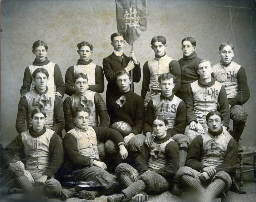 Lancaster High School football team, 1898. Grant County Historical Society.