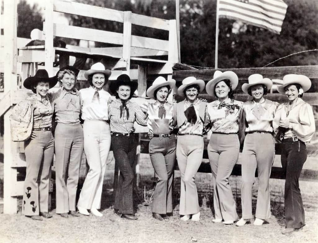 Liberty Act Cowgirls at the Joe Greer Rodeo in the 1940s. Grant County Historical Society.