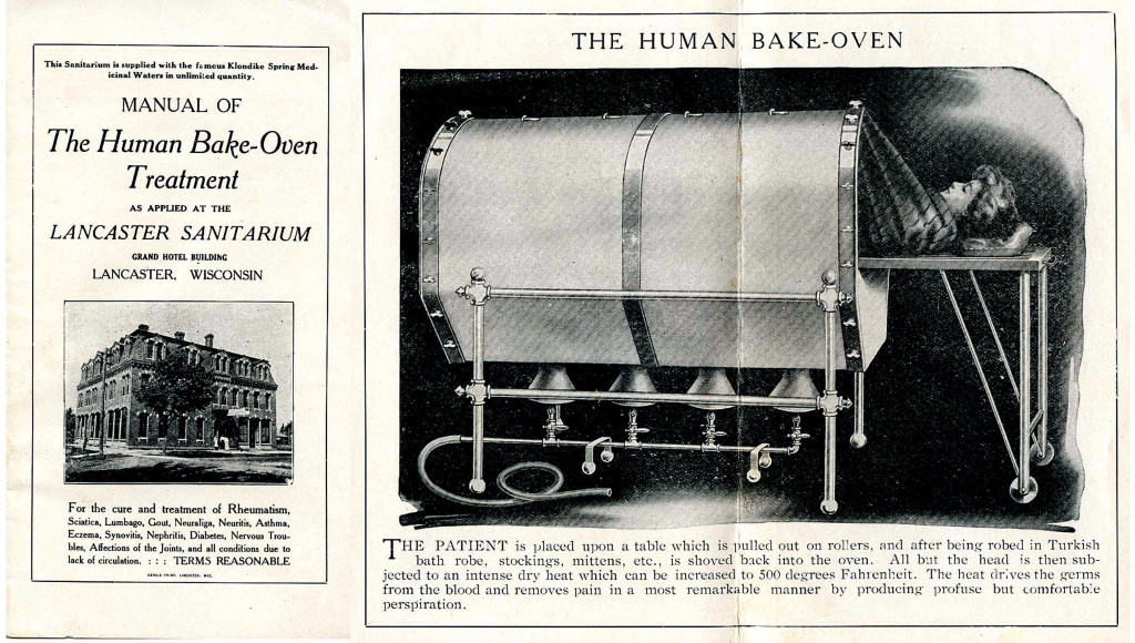 """A brochure for the """"Human Bake-Oven Treatment"""" at the Lancaster Sanitarium, operated by Dr. William J. Schade, a chiropractor and physical culturist."""