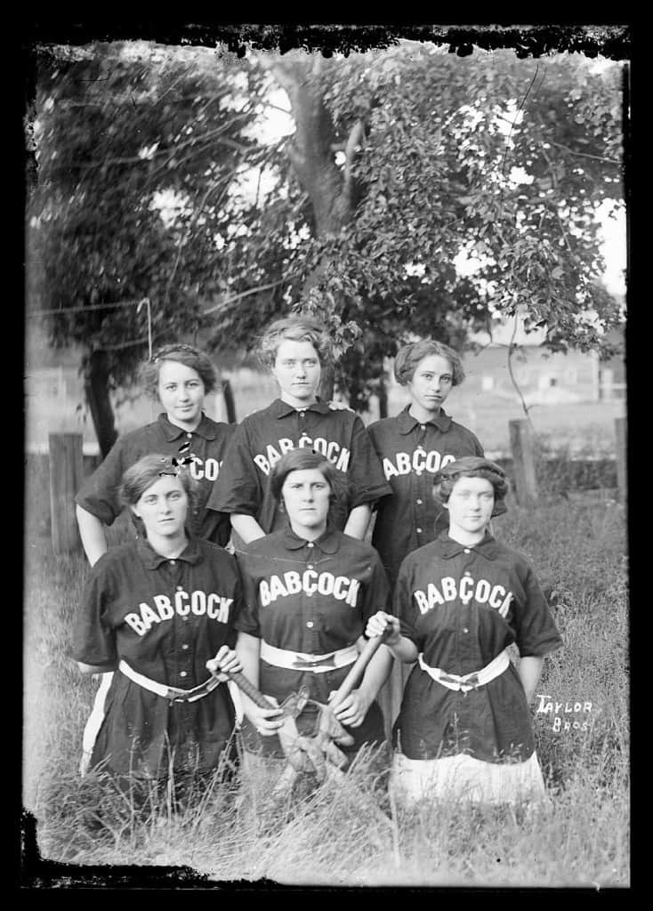 Women's softball team in Babcock (Wood County), 1910-1930. Photo by Taylor Brothers. Murphy Library, University of Wisconsin-La Crosse