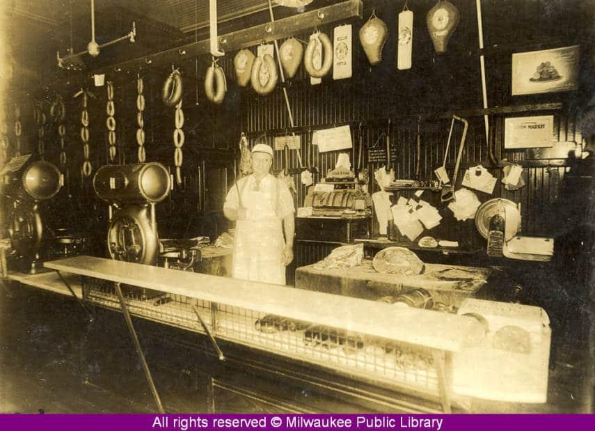 Frank B. Lang Meat Market, Milwaukee, 1929. Milwaukee Public Library.
