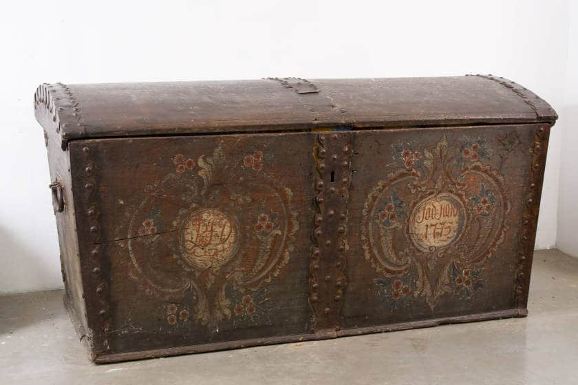 Painted trunk, Skare Collection, McFarland Historical Society.