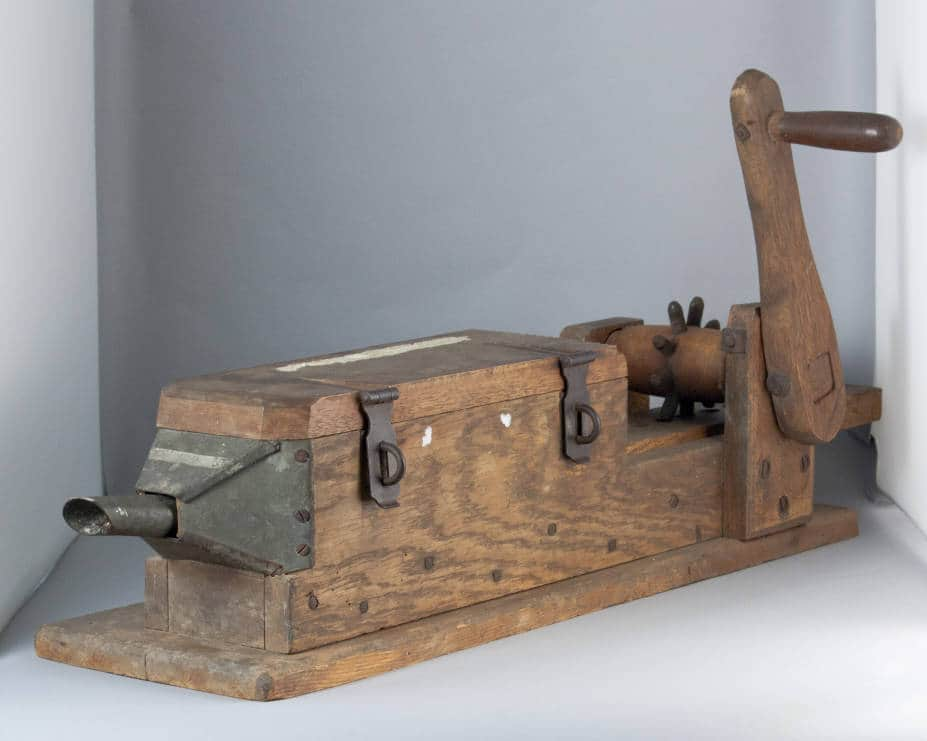 Hand-cranked wooden sausage stuffer. Skare Collection, McFarland Historical Society.