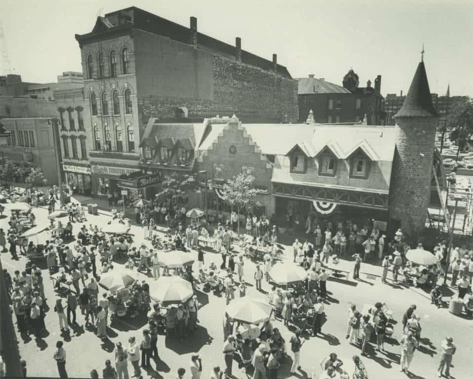 View of the block party held on North Third Street in downtown Milwaukee as Usinger's celebrated its centennial in 1980. Milwaukee Public Library.