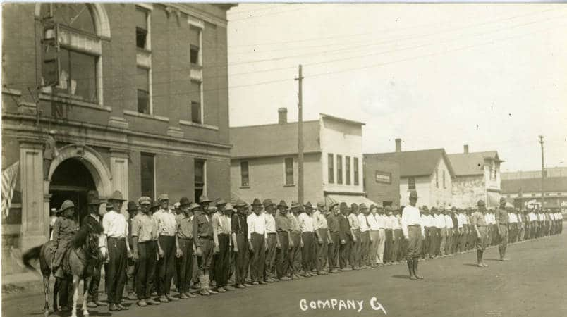 Company G (later known as the 107th Trench Mortar Battery Company) assembled for training in Antigo, 1917. Langlade County Historical Society.