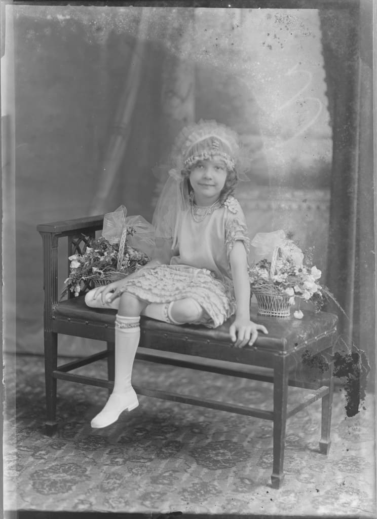 Studio portrait of wedding flower girl Dorothy Fons ca. 1927. University of Wisconsin-Milwaukee Libraries.