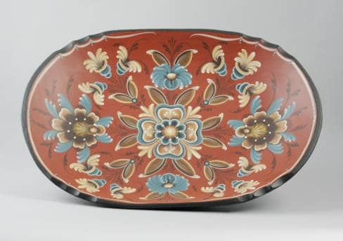 This bowl decorated by Lou Dahl of McFarland in 1984 was included in an annual exhibition of the Wisconsin State Rosemaling Association. McFarland Historical Society.