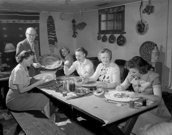 Shorewood Hills Community League rosemaling class, Madison, 1952. Photo by Arthur M. Vinje. Wisconsin Historical Society Image ID 79716.