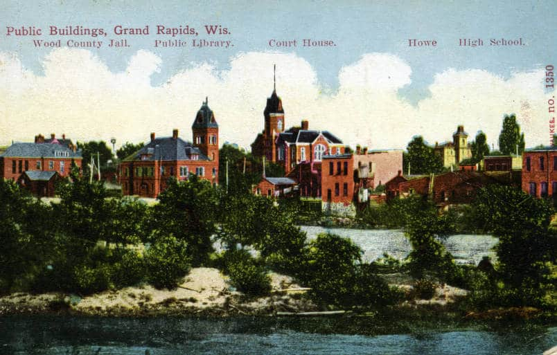 Public buildings of Grand Rapids, ca. 1908. South Wood County Historical Museum.